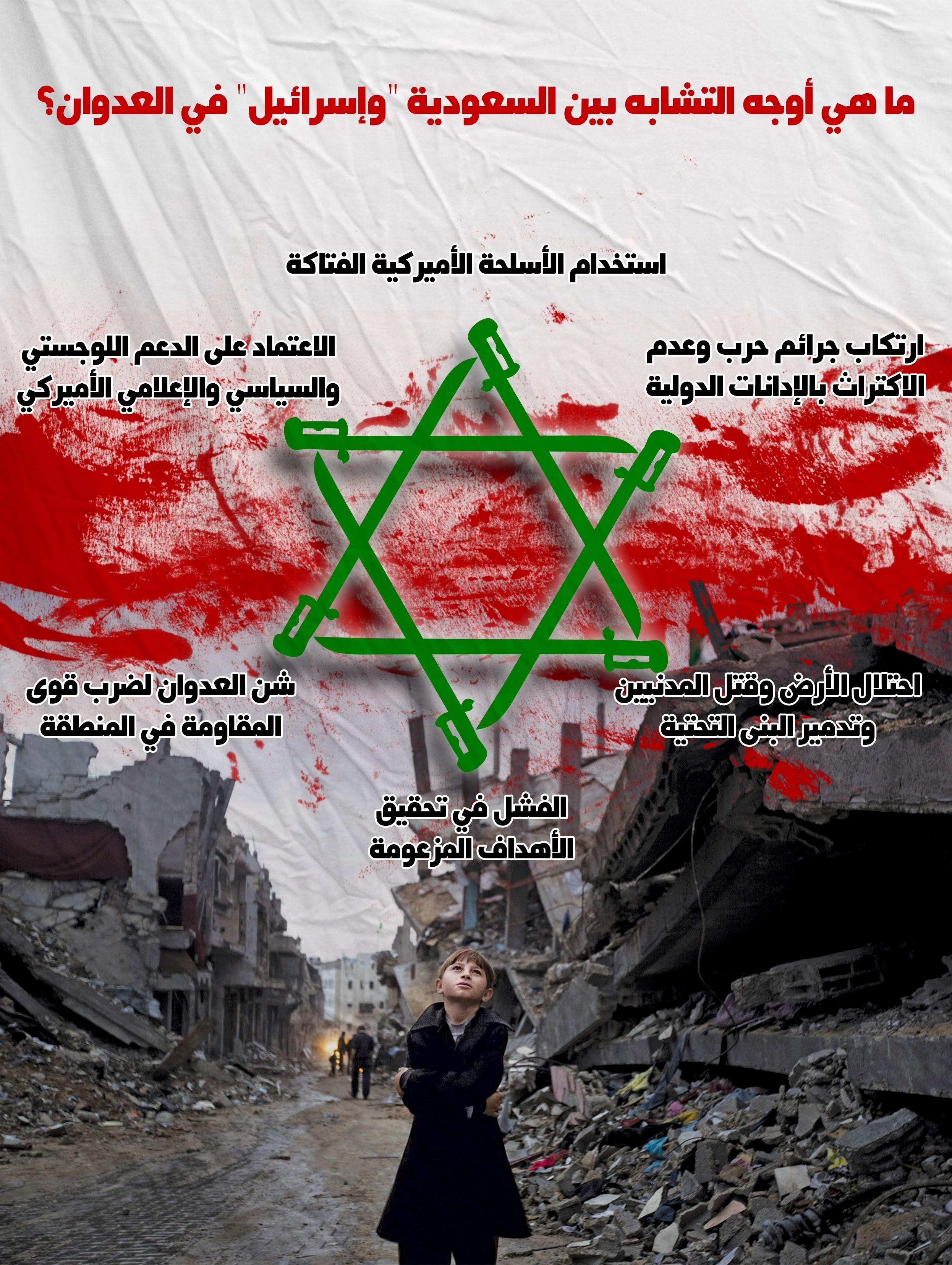 """انفوجرافیک: ماهی أوجه التشابه بین """"اسرائیل"""" والسعودیه فی العدوان؟"""